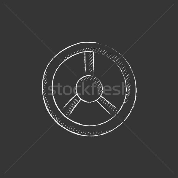 Steering wheel. Drawn in chalk icon. Stock photo © RAStudio