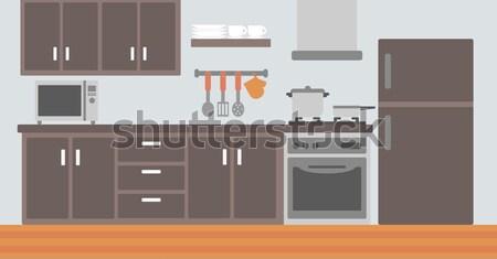 Konyhai gépek vektor terv illusztráció tér elrendezés Stock fotó © RAStudio