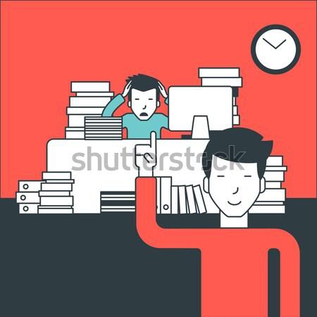Işadamı çalışma oturma işyeri belgeler patron Stok fotoğraf © RAStudio