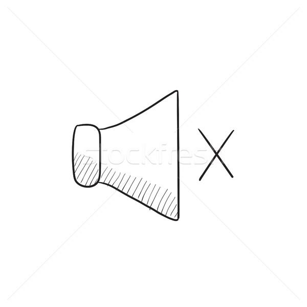 Dempen spreker schets icon vector geïsoleerd Stockfoto © RAStudio