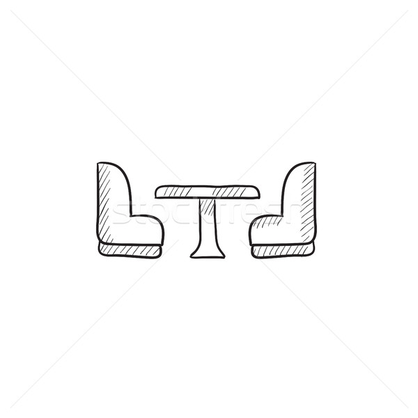 Camping van interior with seating sketch icon. Stock photo © RAStudio