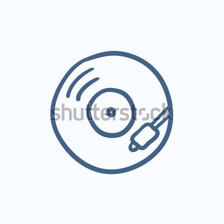 диска эскиз икона вектора изолированный рисованной Сток-фото © RAStudio