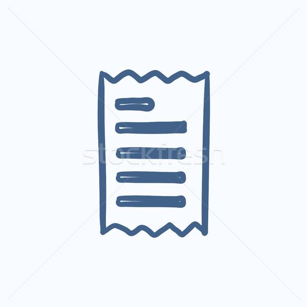 Makbuz kroki ikon vektör yalıtılmış Stok fotoğraf © RAStudio