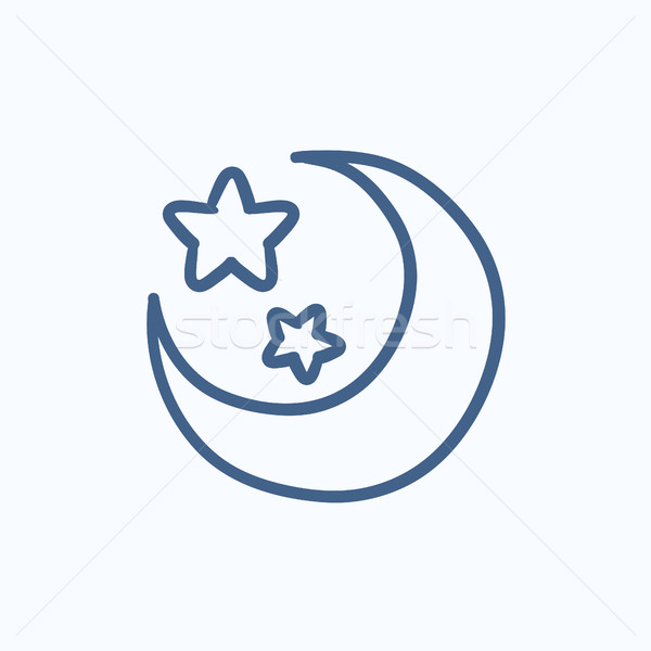 Moon and stars sketch icon. Stock photo © RAStudio
