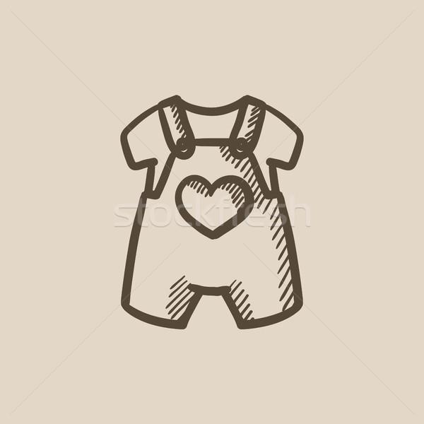 Baby overalls and shirt sketch icon. Stock photo © RAStudio
