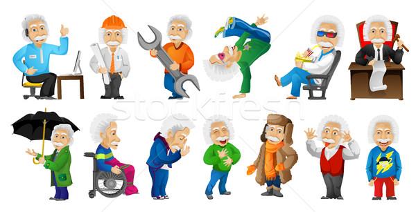 Vector ingesteld oude man illustraties werken technische ondersteuning Stockfoto © RAStudio