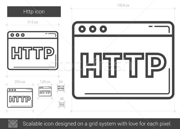 Http linha ícone vetor isolado branco Foto stock © RAStudio
