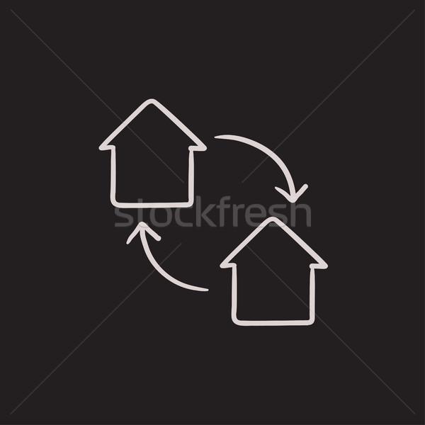 дома обмена эскиз икона вектора изолированный Сток-фото © RAStudio