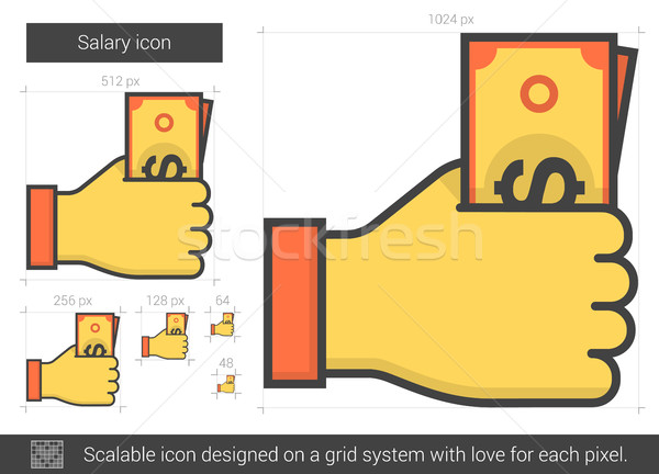 Salario línea icono vector aislado blanco Foto stock © RAStudio