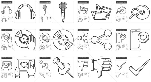 Stock photo: Media line icon set.