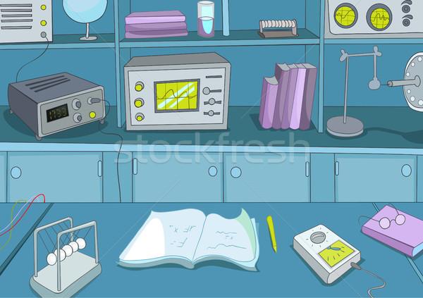 Karikatur Physik Labor Hand gezeichnet farbenreich Arbeitsplatz Stock foto © RAStudio