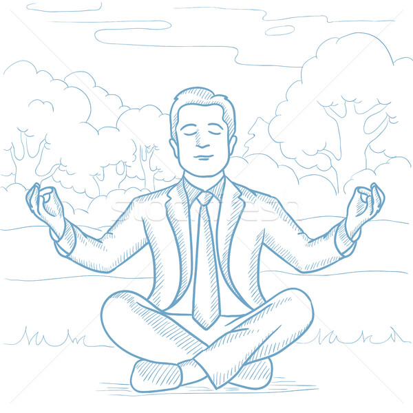 Stock photo: Businessman meditating in lotus pose on the beach.