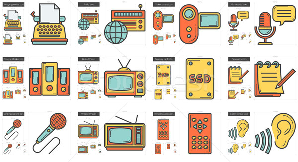 Stock photo: Journalism line icon set.
