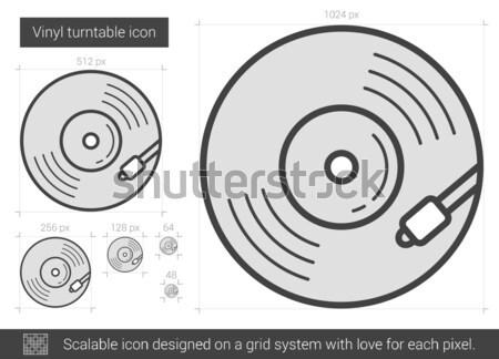 Bakelit lemezjátszó vonal ikon vektor izolált Stock fotó © RAStudio