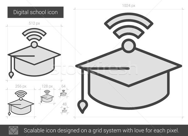 Stock photo: Digital school line icon.