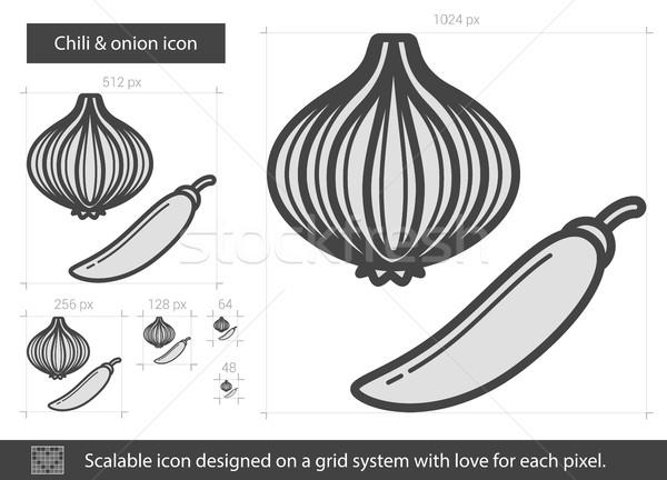 çili soğan hat ikon vektör yalıtılmış Stok fotoğraf © RAStudio
