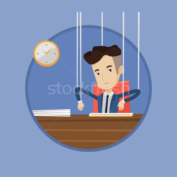 üzletember marionett kötelek dolgozik akasztás ahogy Stock fotó © RAStudio