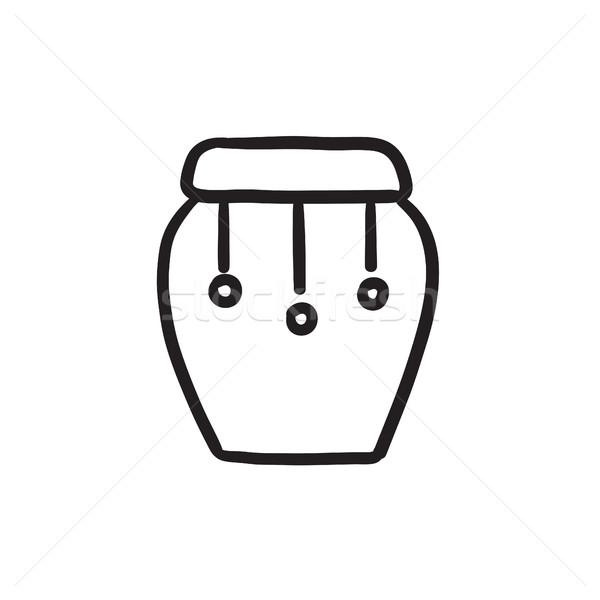 Dob hangszer rajz ikon vektor izolált Stock fotó © RAStudio