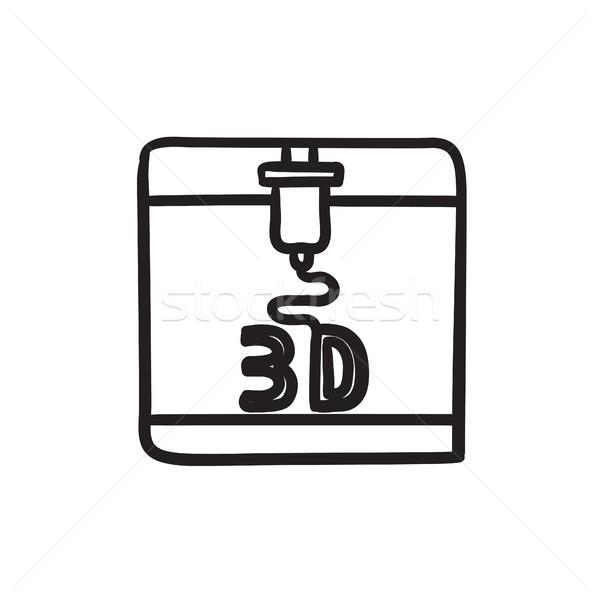 Stock photo: Tree D printing sketch icon.