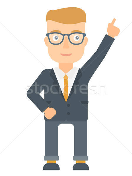 Businessman pointing up with finger. Stock photo © RAStudio