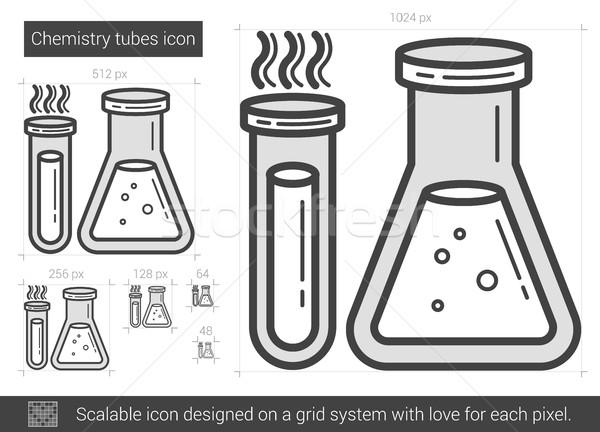химии Трубы линия икона вектора изолированный Сток-фото © RAStudio