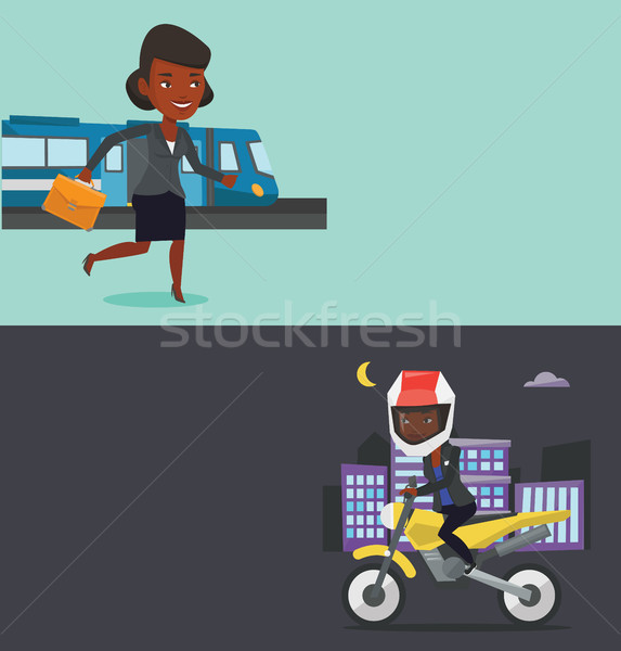 Two transportation banners with space for text. Stock photo © RAStudio
