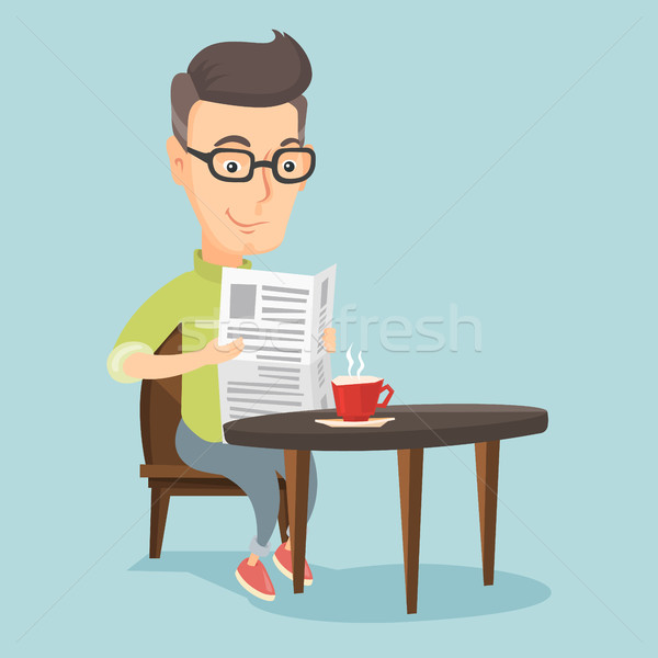 Man reading newspaper and drinking coffee. Stock photo © RAStudio
