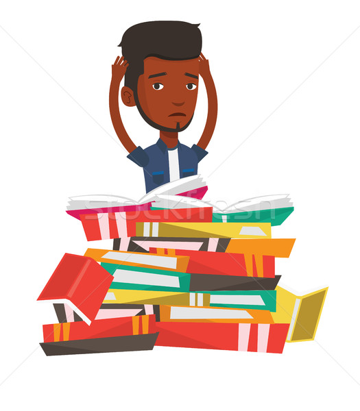 Studente seduta enorme libri stanco Foto d'archivio © RAStudio
