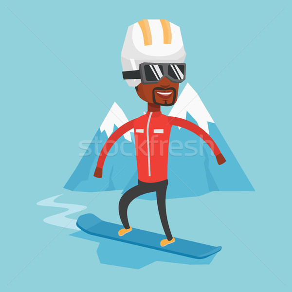 Young man snowboarding vector illustration. Stock photo © RAStudio
