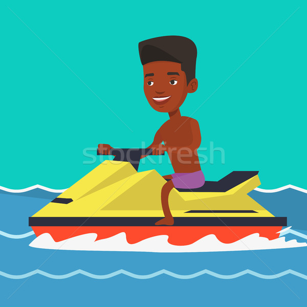African man training on jet ski in the sea. Stock photo © RAStudio