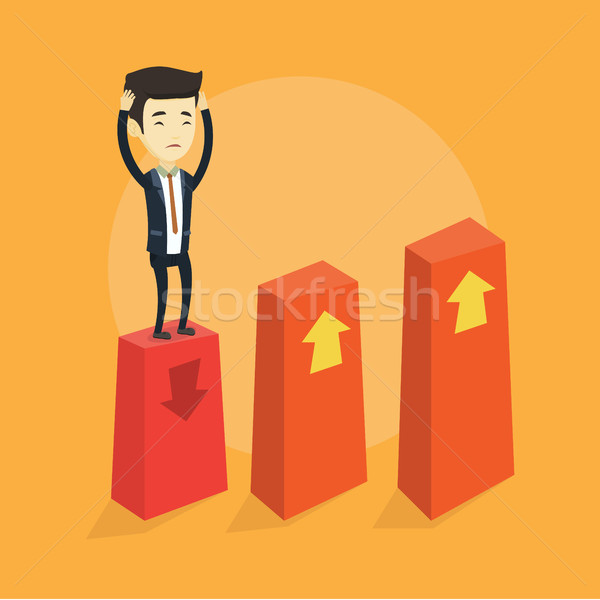 Bankrupt on chart going down vector illustration. Stock photo © RAStudio