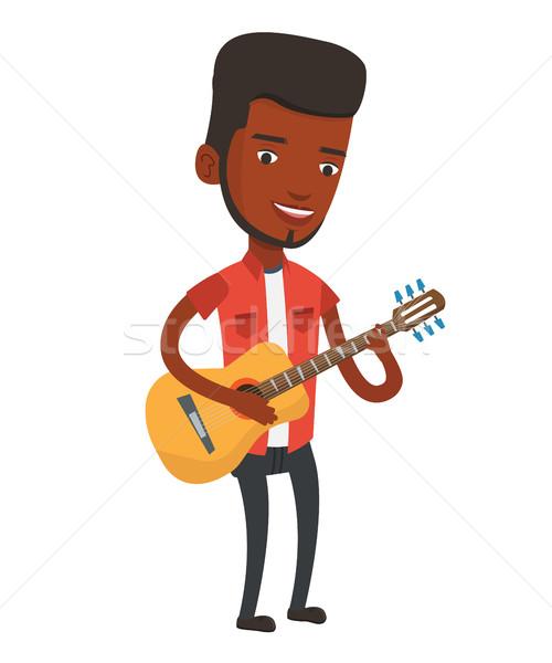 Man playing acoustic guitar vector illustration. Stock photo © RAStudio