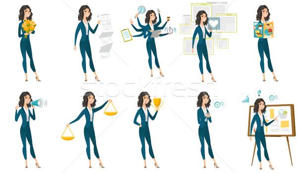 ベクトル セット イラスト ビジネスの方々  白人 ビジネス女性 ストックフォト © RAStudio