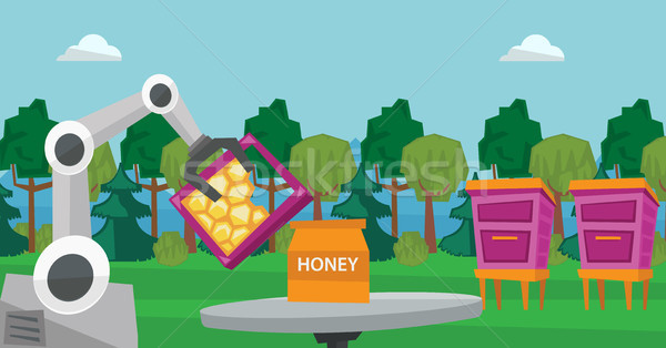 Robot beekeeper gathering honey from beehive. Stock photo © RAStudio