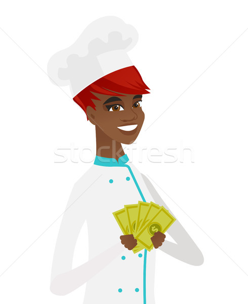 Young african-american chef holding money. Stock photo © RAStudio