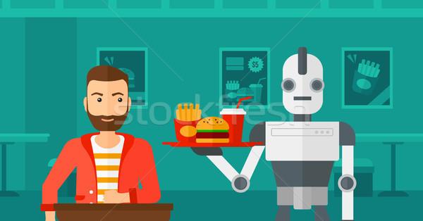 Robot koffie cliënt coffeeshop De ober Stockfoto © RAStudio