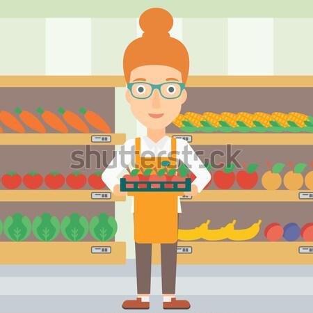 Vásárló fizet drótnélküli okostelefon nő áruház Stock fotó © RAStudio
