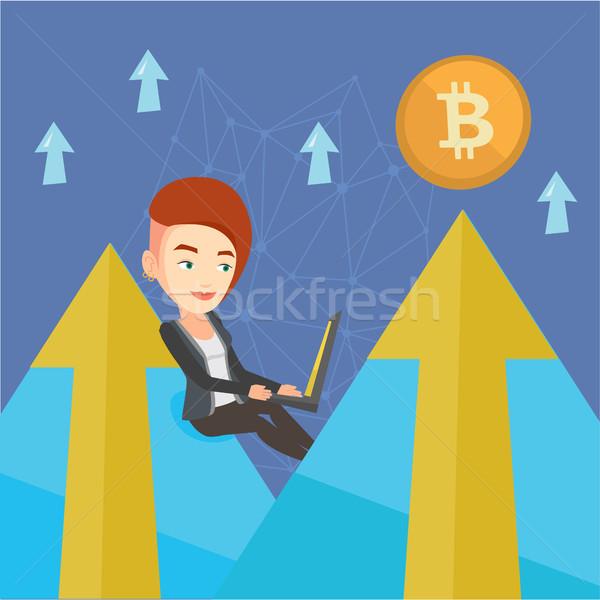 Nő bitcoin érme kereskedés kaukázusi fehér Stock fotó © RAStudio