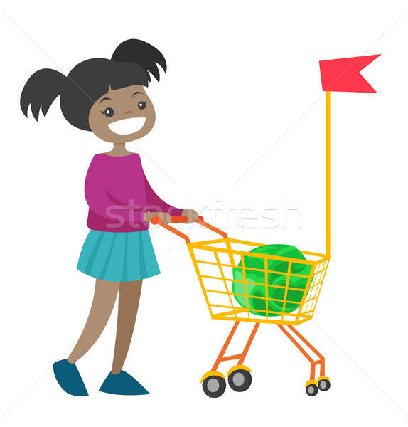 Little african girl walking with shopping cart. Stock photo © RAStudio