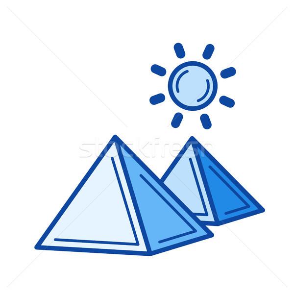 египетский пирамида линия икона вектора изолированный Сток-фото © RAStudio