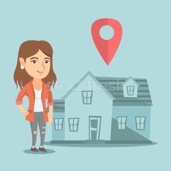 Realtor and house with map pointer on background. Stock photo © RAStudio