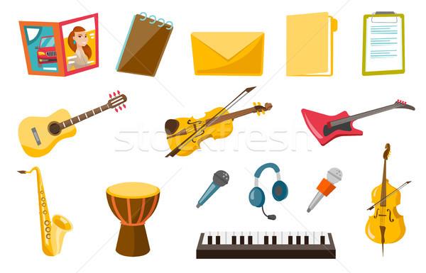 Musical instruments vector illustrations set. Stock photo © RAStudio
