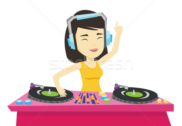 Stock photo: DJ mixing music on turntables vector illustration.