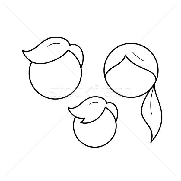 семьи вектора линия икона изолированный белый Сток-фото © RAStudio