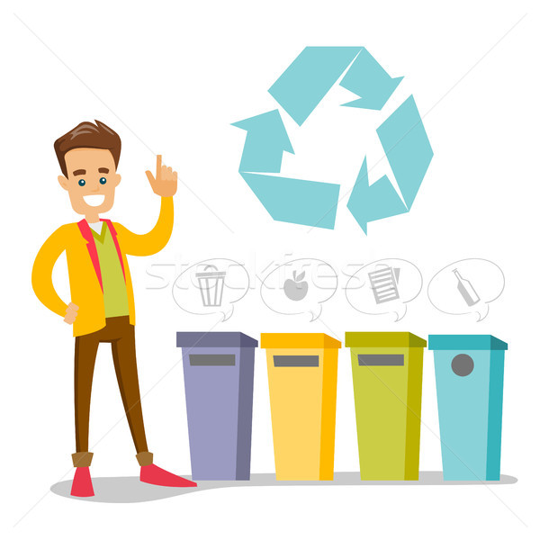 Człowiek stałego śmieci biały człowiek cztery Zdjęcia stock © RAStudio