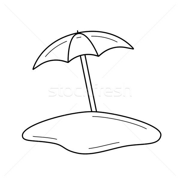 Napernyő vonal ikon tengerpart nap esernyő Stock fotó © RAStudio