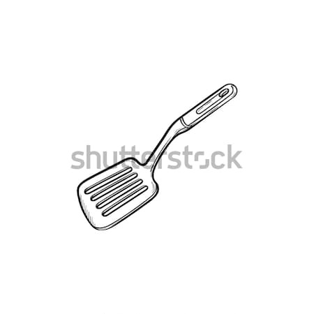 Cocina espátula dibujado a mano boceto icono Foto stock © RAStudio