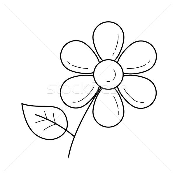 Százszorszép virág vektor vonal ikon izolált fehér Stock fotó © RAStudio