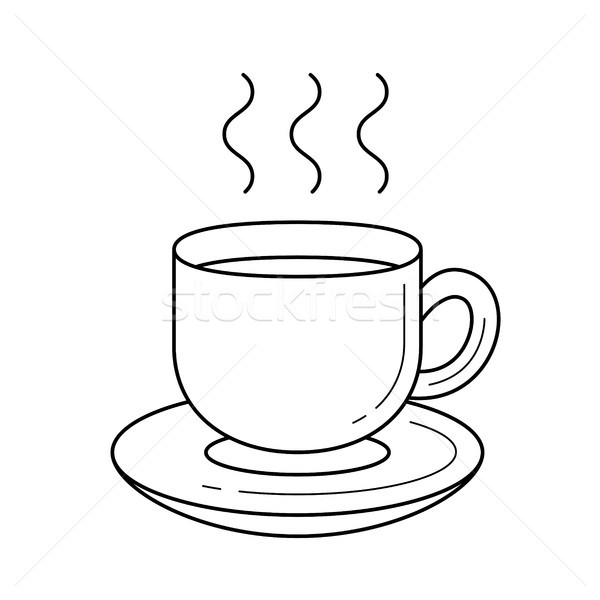 Coffee cup vector line icon. Stock photo © RAStudio