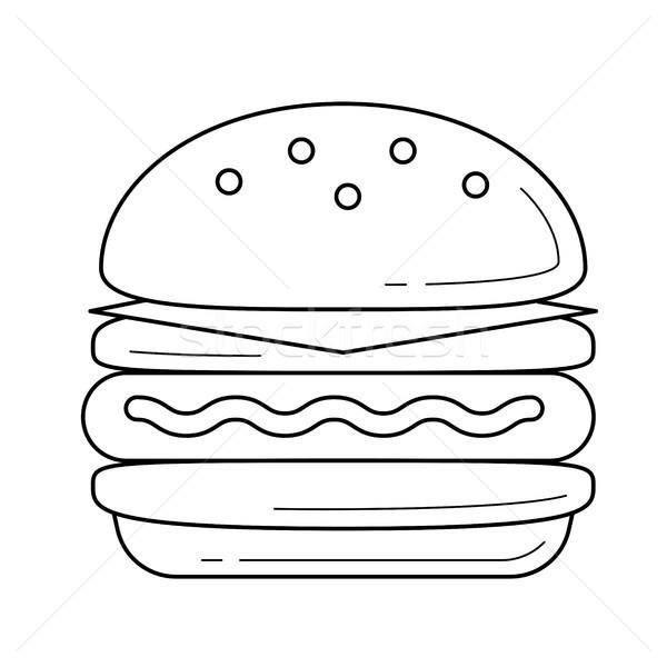 Doble hamburguesa vector línea icono aislado Foto stock © RAStudio